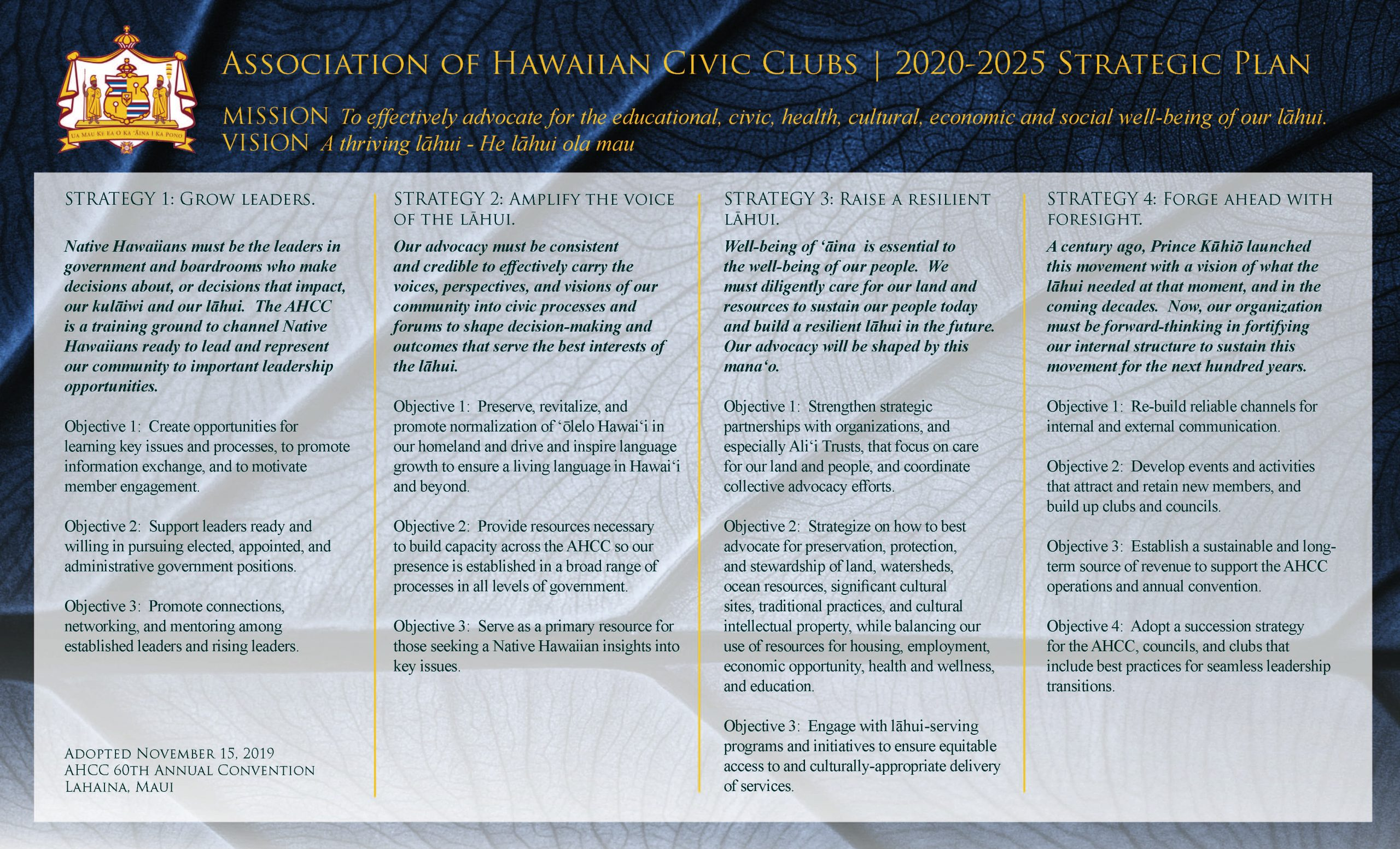 AHCC 2020-2025 Strategic Plan [Adopted 11-15-2019]